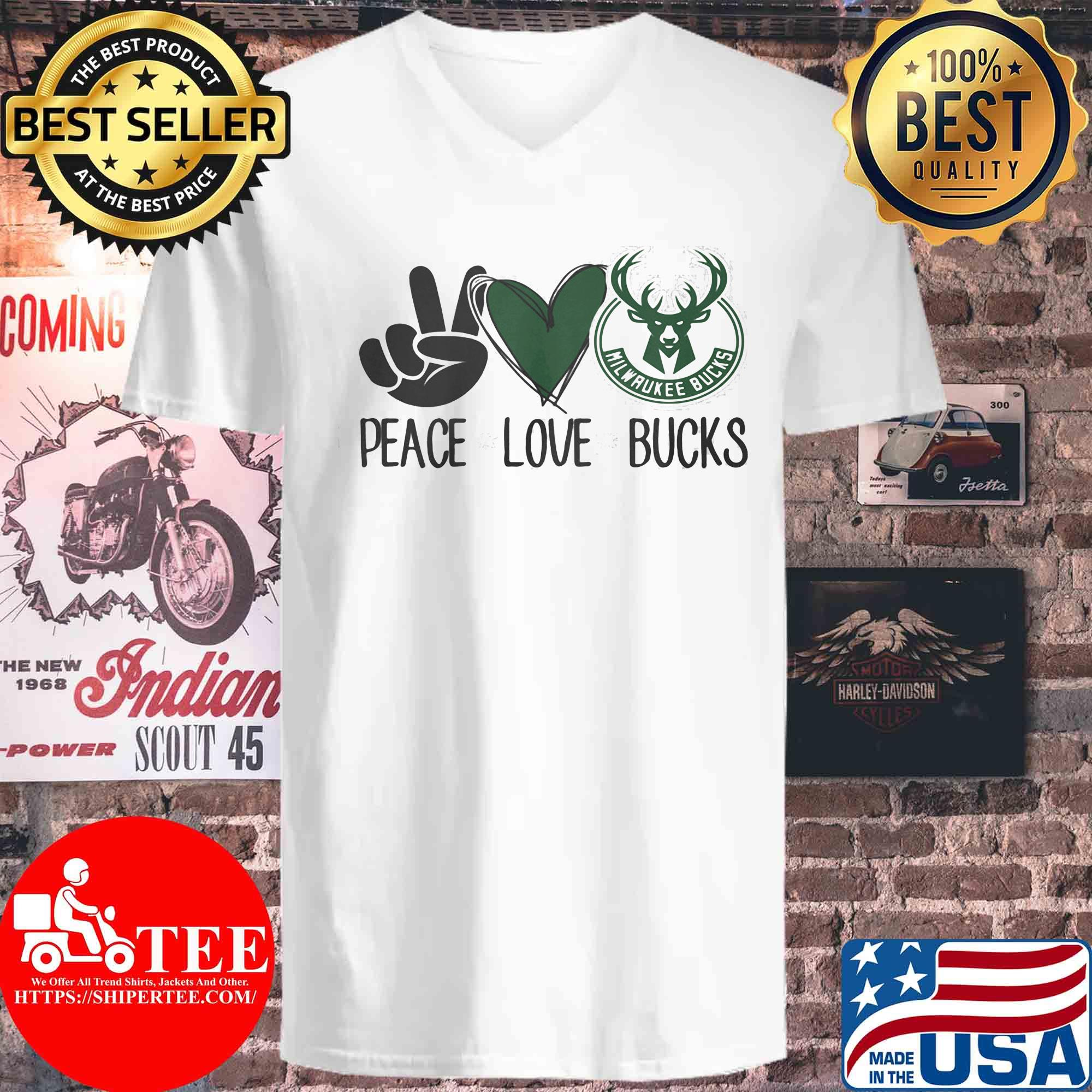 Peace love milwaukee bucks s V-neck